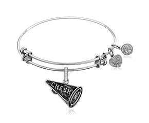Expandable White Tone Brass Bangle with Cheer Symbol