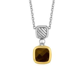 Cushion Smokey Topaz Pendant Necklace in 18k Yellow Gold and Sterling Silver