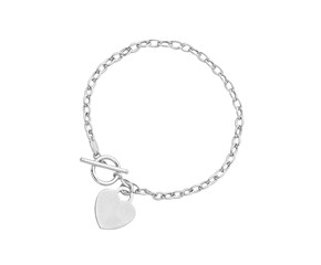 Heart Accent Toggle Bracelet in 14K White Gold