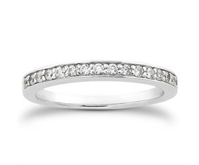 Pave Diamond Wedding Ring Band in 14k White Gold