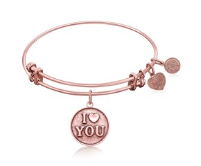 Expandable Pink Tone Brass Bangle with I Love You Symbol