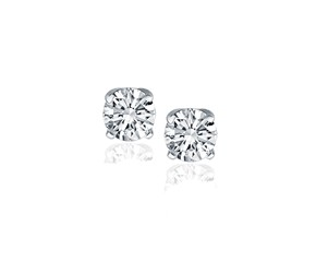 Classic Round Diamond Stud Earrings in 14k White Gold (1 cttw)
