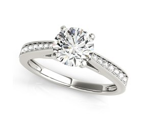 14k White Gold Antique Style Round Graduagted Single Row Diamond Engagement Ring (1 1/8 cttw)