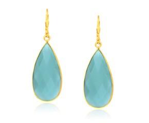 Aqua Chalcedony Long Teardrop Earrings in Yellow Gold Plated Sterling Silver