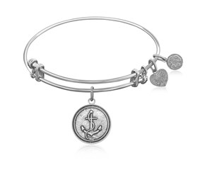 Expandable White Tone Brass Bangle with Anchor Secure Future Symbol