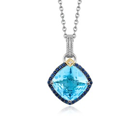 Blue Topaz,  Iolite,  and Diamond Cushion Pendant in 18k Yellow Gold and Sterling Silver (.29 cttw)