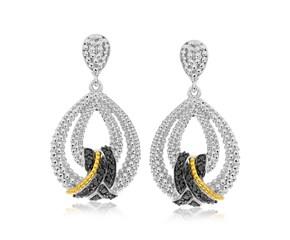 Black Diamond Studded Teardrop Popcorn Earrings in 18k Yellow Gold and Sterling Silver (.23cttw)