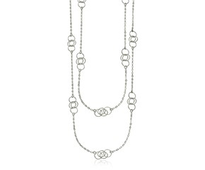 Sterling Silver 36 inch Two Strand Necklace with Interlocking Circle Stations