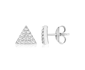 Sterling Silver Triangle Earrings with Cubic Zirconias