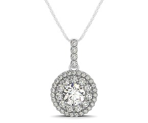 Round Halo Diamond Studded Pendant in 14k White Gold (1 1/4 cttw)