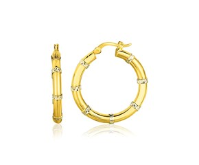 Sectioned Diamond Cut Hoop Earrings in 14k Two-Tone Gold
