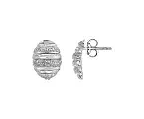 Domed Textured Oval Earrings in Sterling Silver
