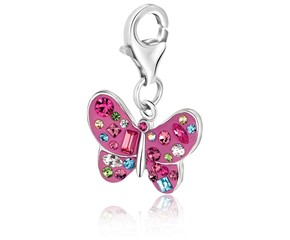 Butterfly Crystal Accented Charm in Sterling Silver