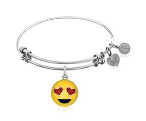 Expandable White Tone Brass Bangle with Enamel Smile Emoji Symbol