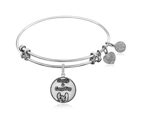 Expandable White Tone Brass Bangle with Family is Everything Symbol