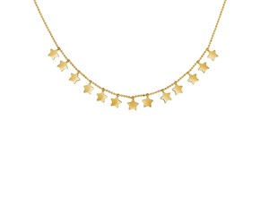 14k Yellow Gold Necklace with Petite Polished Stars