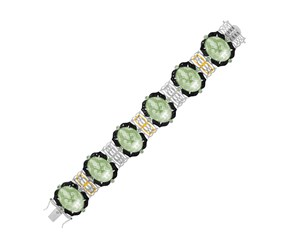 Bracelet with Green Amethyst,  Tsavorite,  and Black Diamonds in 18k Yellow Gold and Sterling Silver