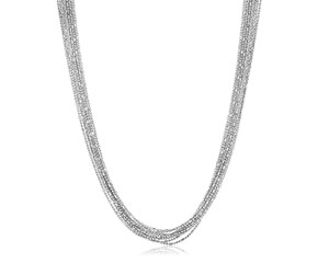 Sterling Silver Multi Strand Bead Chain Necklace