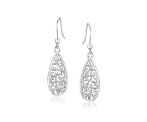 Filigree Design Teardrop Drop Earrings in Sterling Silver