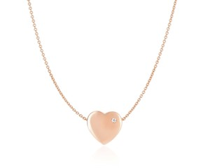Diamond Encrusted Flat Heart Charm Chain Necklace in 14k Rose Gold (.01ct)