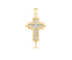 Baroque Diamond Cut Cross Pendant in 14K Two-Tone Gold