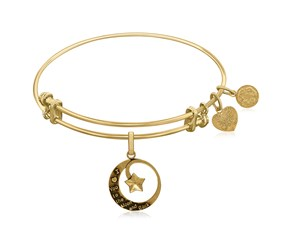 Expandable Yellow Tone Brass Bangle with Love You To The Moon and Back Symbol