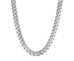 14k White Gold 22 inch Polished Curb Chain Necklace