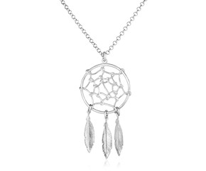 Sterling Silver 17 inch Necklace with Dream Catcher Pendant