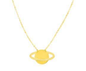 14K Yellow Gold Saturn Necklace