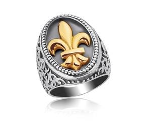 Fleur De Lis Filigree Ring in 18k Yellow Gold & Sterling Silver