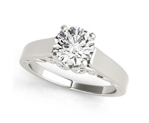 14k White Gold Antique Style Solitaire Round Diamond Engagement Ring (1 cttw)