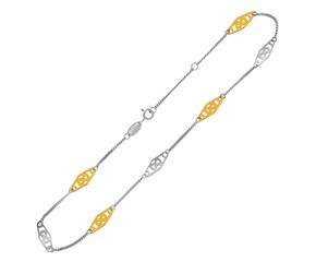 Rounded Diamond Shape Stationed Anklet in 14k Yellow Gold and Sterling Silver
