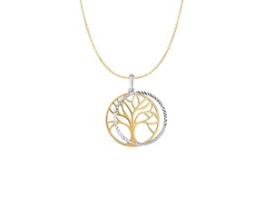 Two Layer Tree Pendant in 14K Two Tone Gold