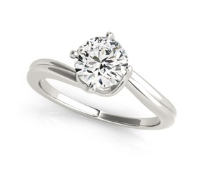 14k White Gold Bypass Style Solitaire Round Diamond Engagement Ring (1 cttw)