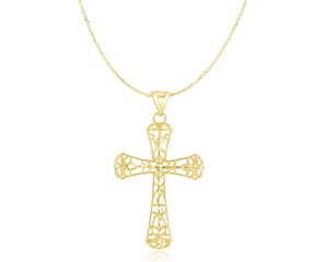 Fancy Filigree Design Crucifix Pendant in 14K Yellow Gold