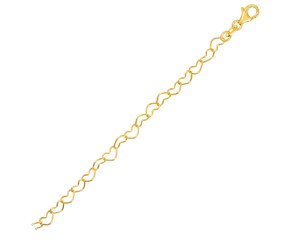 14k Yellow Gold Open Heart Link Bracelet