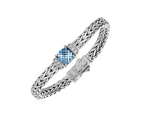Blue Topaz and White Sapphire Embellished Woven Bracelet in Sterling Silver