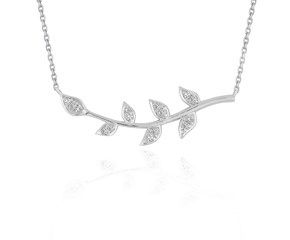 Diamond Vine Design Pendant in 14K White Gold
