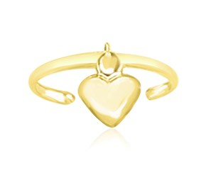 Puffed Heart Motif Cuff Toe Ring in 14K Yellow Gold