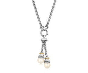 Pearl Lariat Motif Popcorn Necklace in 18k Yellow Gold and Sterling Silver