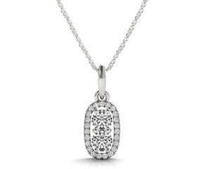 Outer Oval Shaped Two Stone Diamond Pendant in 14k White Gold (5/8 cttw)