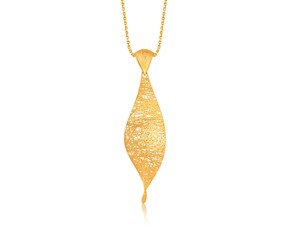 Freeform Weave Marquise Twist Pendant in 14K Yellow Gold
