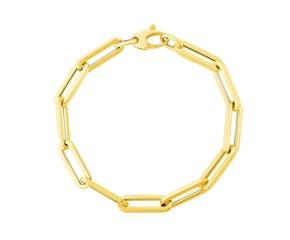 14K Yellow Gold Extra Wide Paperclip Chain Bracelet