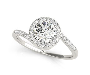 14k White Gold Halo Design Bypass Round Diamond Engagement Ring (5/8 cttw)