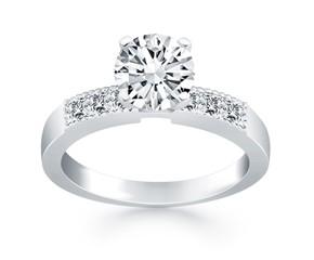 Engagement Ring Mounting with Princess Cut Diamonds in 14K White Gold