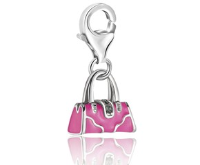 Handbag Pink Enameled Charm With Crystal Accented Lock in Sterling Silver