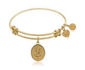 Expandable Yellow Tone Brass Bangle with Initial E Symbol