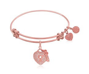 Expandable Rose Tone Brass Bangle with Heart and Key with Cubic Zirconia