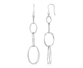Sterling Silver Textured Interlocking Oval Dangle Earrings