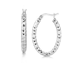 Textured Medium Thick Oval Hoop Earrings in Rhodium Plated Sterling Silver